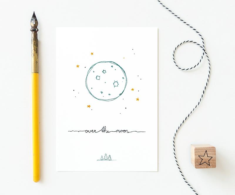 baby kaart over the moon