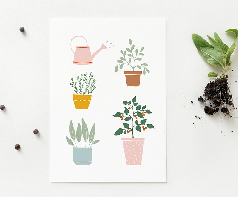 kaart planten gieter