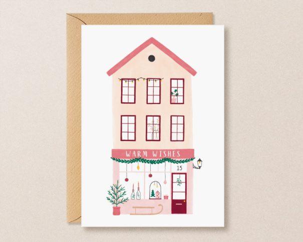 kerstkaart winkel roze huisje