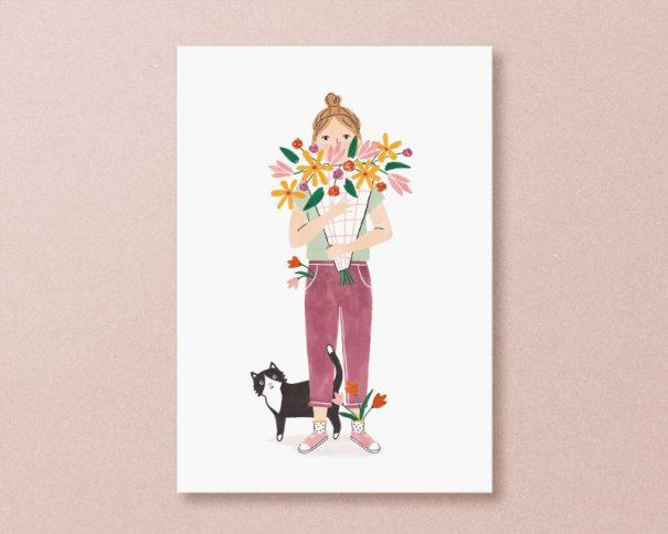 kaart bloemen kat