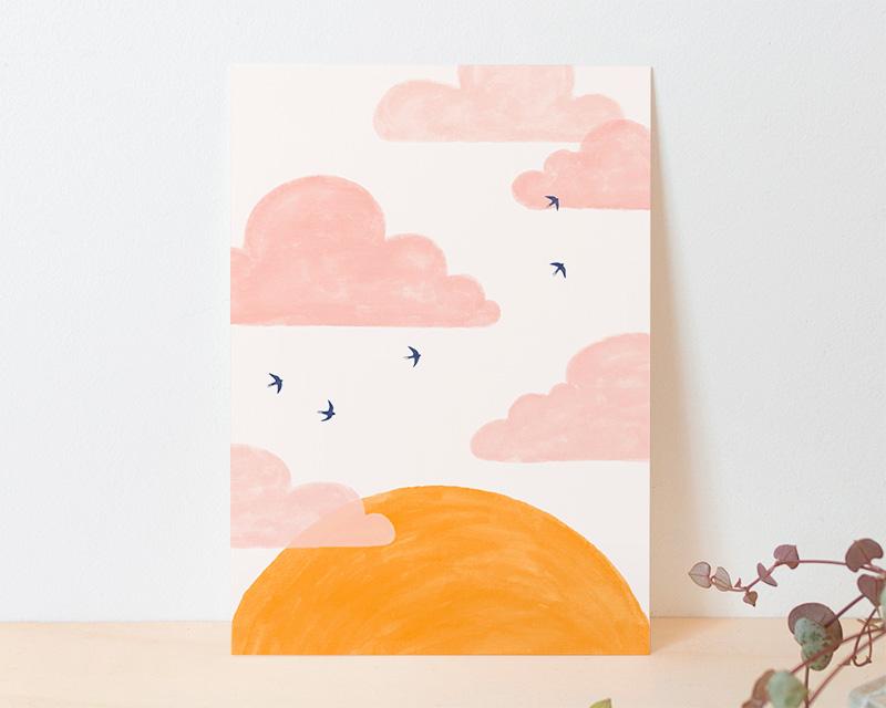 kaart roze zonsondergang