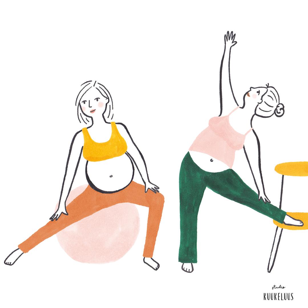 zwanger yoga illustraties