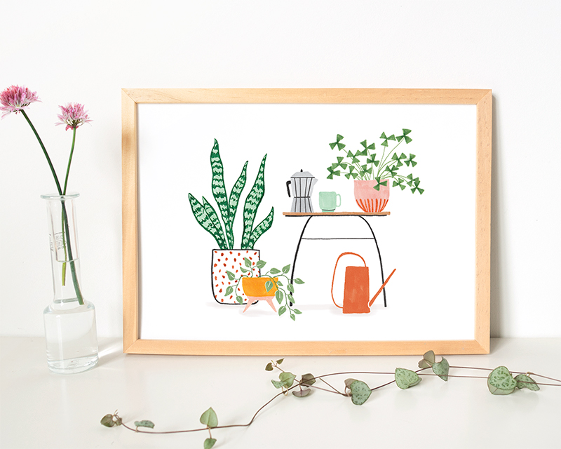 poster planten en koffie
