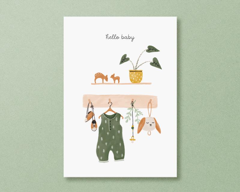 hello baby kaart kleertjes