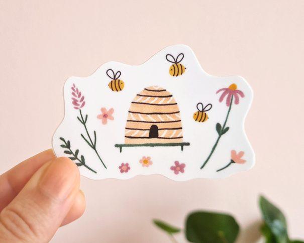 bijen en bloemen sticker