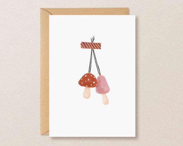 herfst wenskaart met paddenstoeltjes hanger