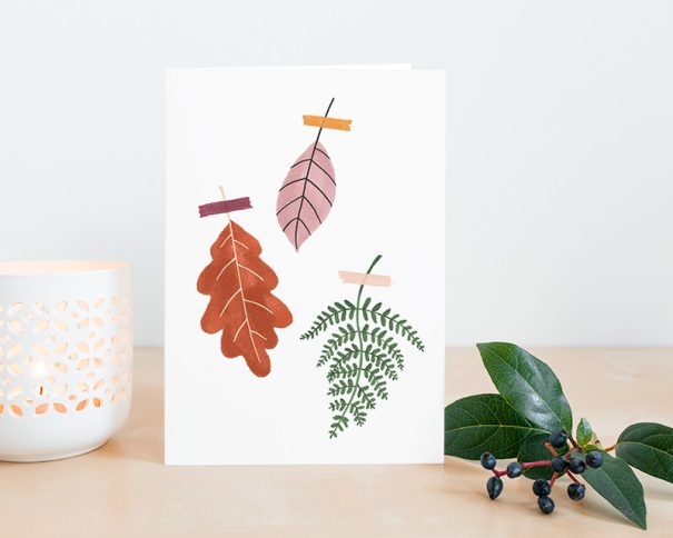 herfstbladeren gevouwen kaart
